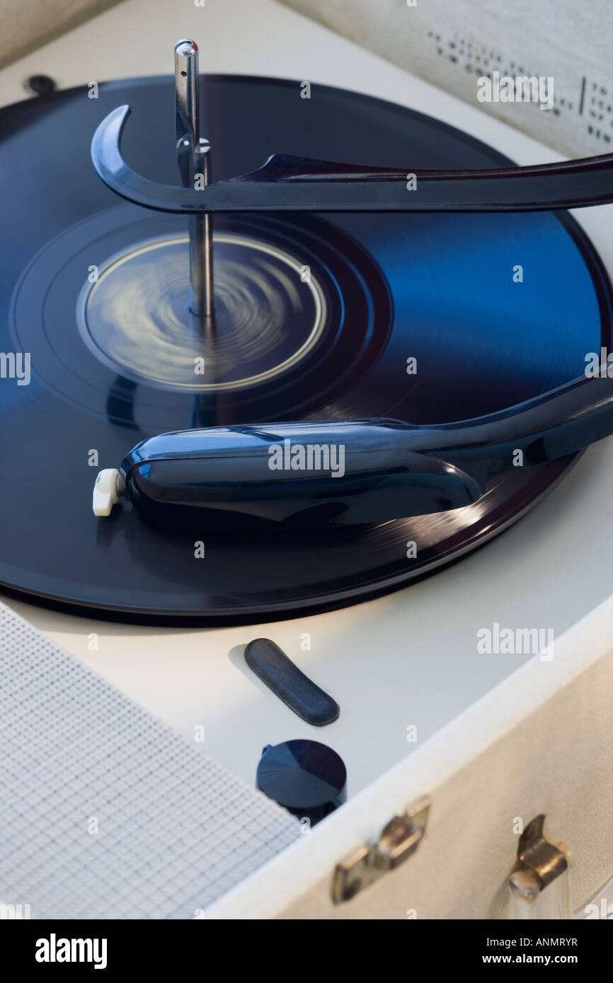 Close up of old fashioned record player Photo Stock