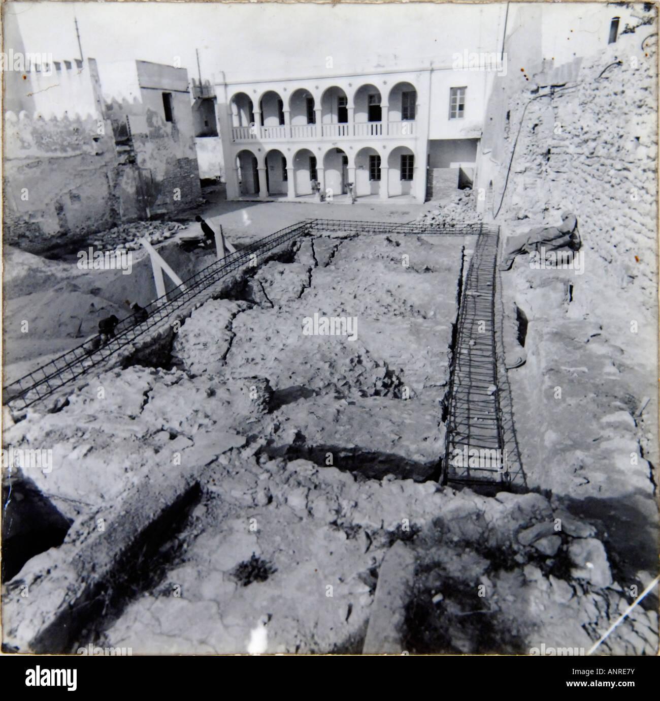 Un vieux b/w photographie de la Médina de Sfax dans une exposition dans le musée de la Kasbah Photo Stock
