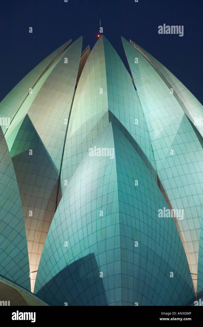 L'Inde, Delhi, le sud-est de Delhi: Temple Bahai (b.1986) Soirée Banque D'Images