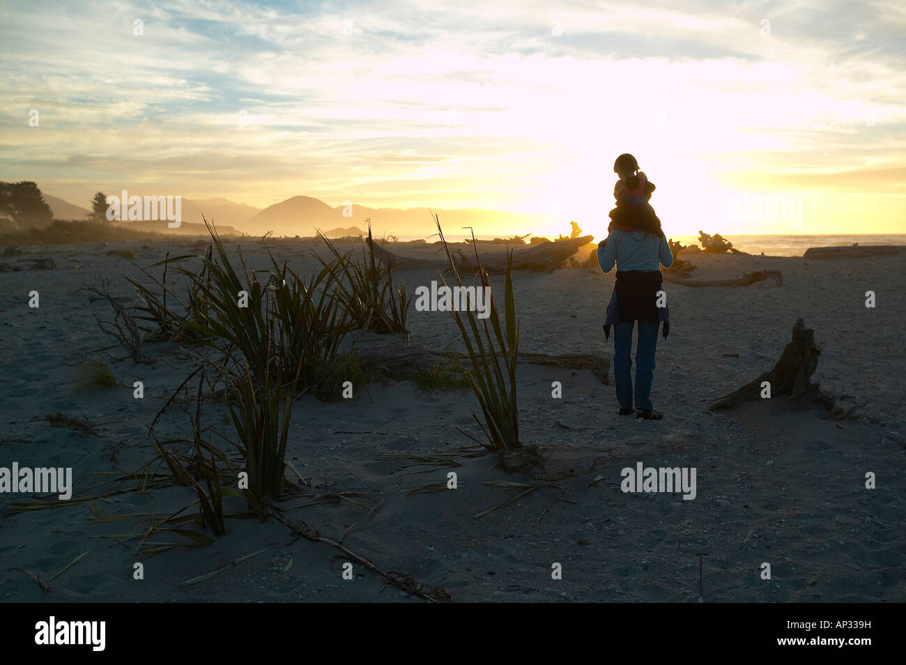 Randonnées dans les journaux entre plage, mère portant l'enfant, plage près de Haast, Westcoast, Photo Stock