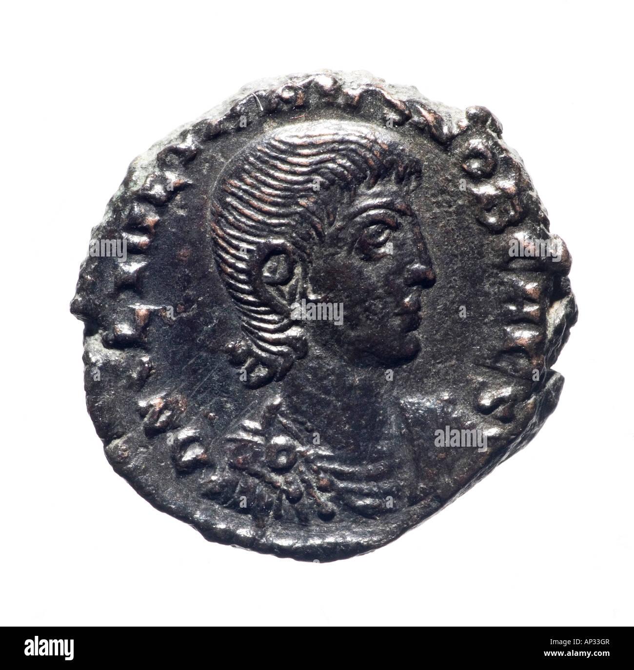 Pièce de monnaie romaine: Constantius Gallus Caesar (avers) Photo Stock
