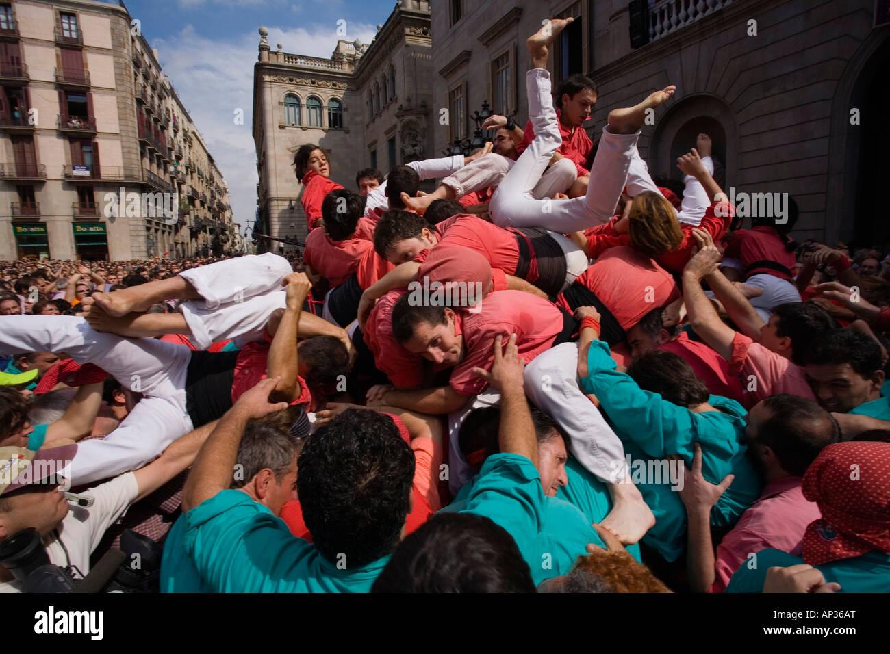 Les Castellers, tour, Festa de la Merce, city festival, septembre, Plaça de Sant Jaume, Barri Gotic, Ciutat Vella, Barcelone, Banque D'Images