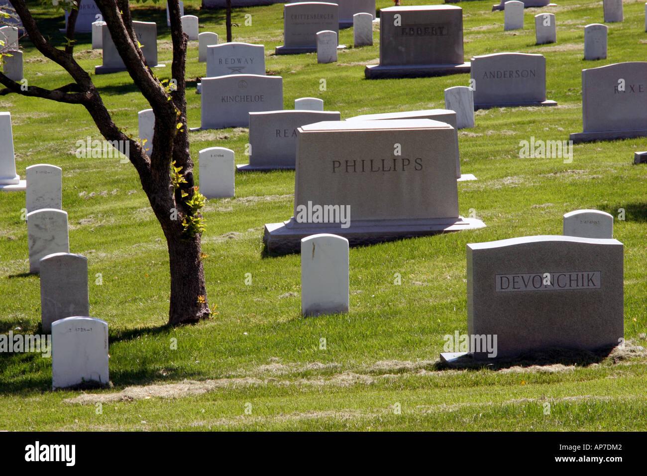 Pierres tombales, cimetière national d'Arlington Banque D'Images