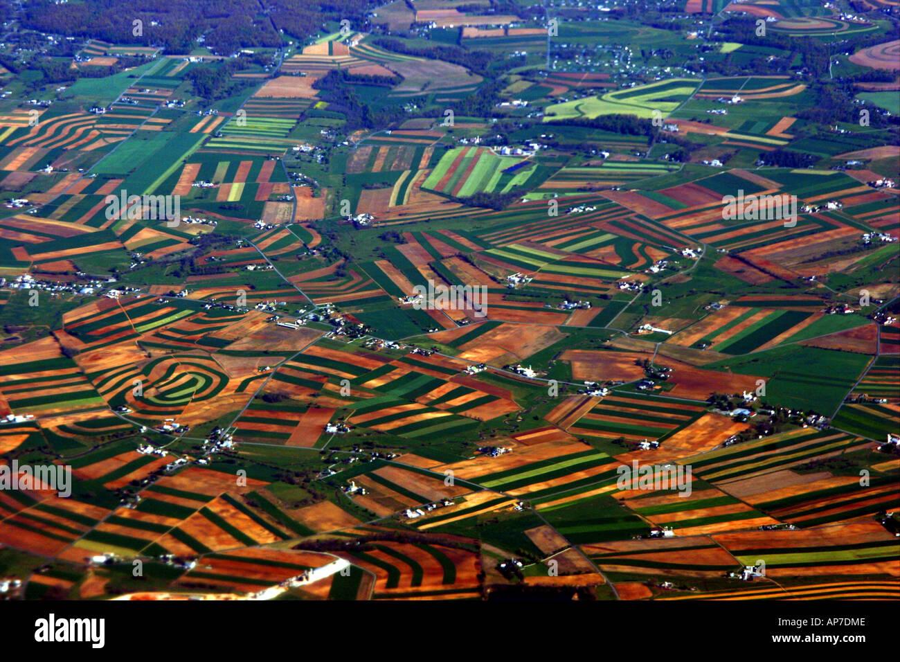 Vue aérienne de fermes pennsylvanienne Banque D'Images