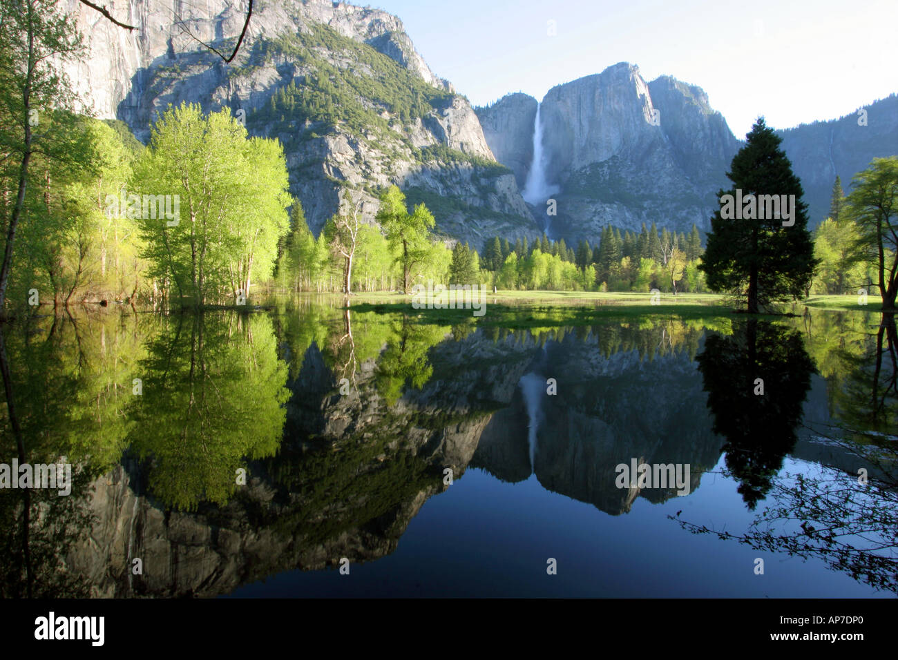 Yosemite falls réflexion, Yosemite National Park Banque D'Images