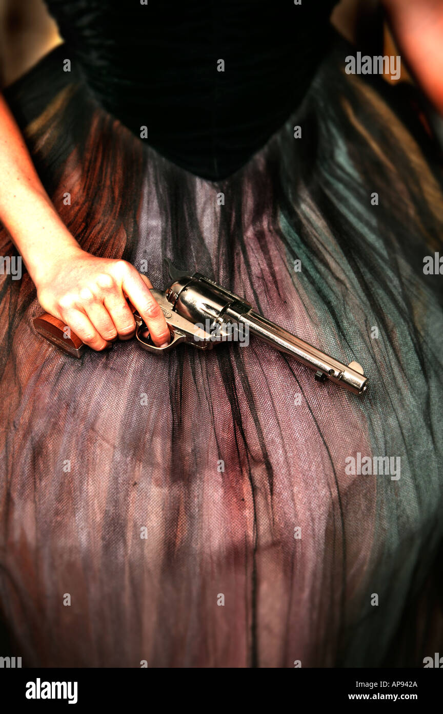 Femme avec pistolet Photo Stock