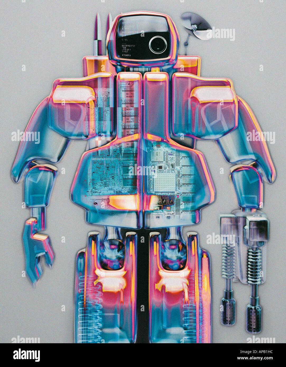 Image générée par ordinateur d'un robot bleu et rose Banque D'Images