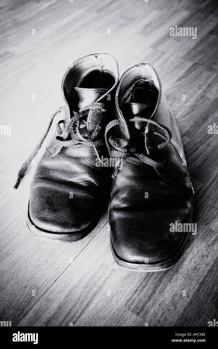 vieilles bottes b w Photo Stock