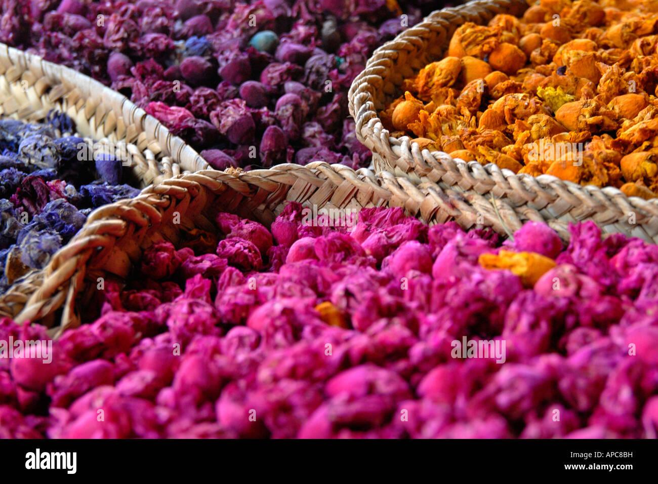 Paniers de boutons de roses séchées souk de Marrakech Photo Stock