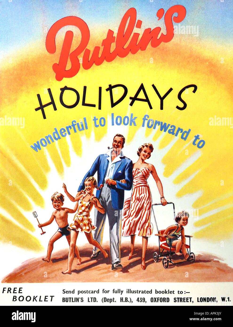 1950 Butlin's Holidays 1952 Publicité pour un usage éditorial uniquement Banque D'Images