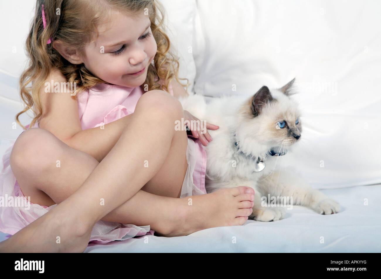 Petite fille jouant avec siamesse chaton Banque D'Images