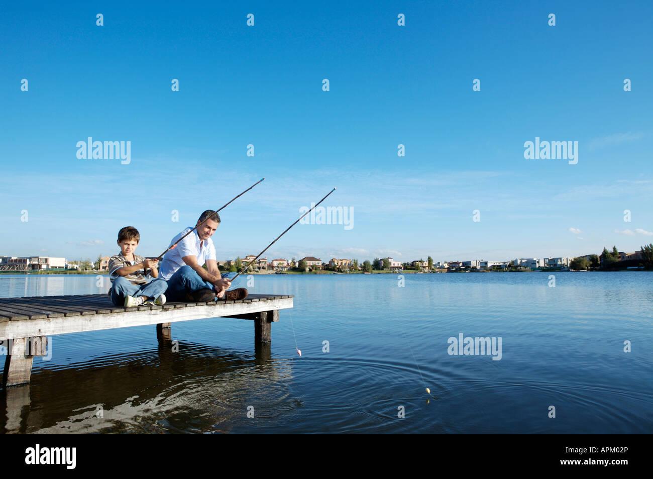La pêche père et fils Banque D'Images