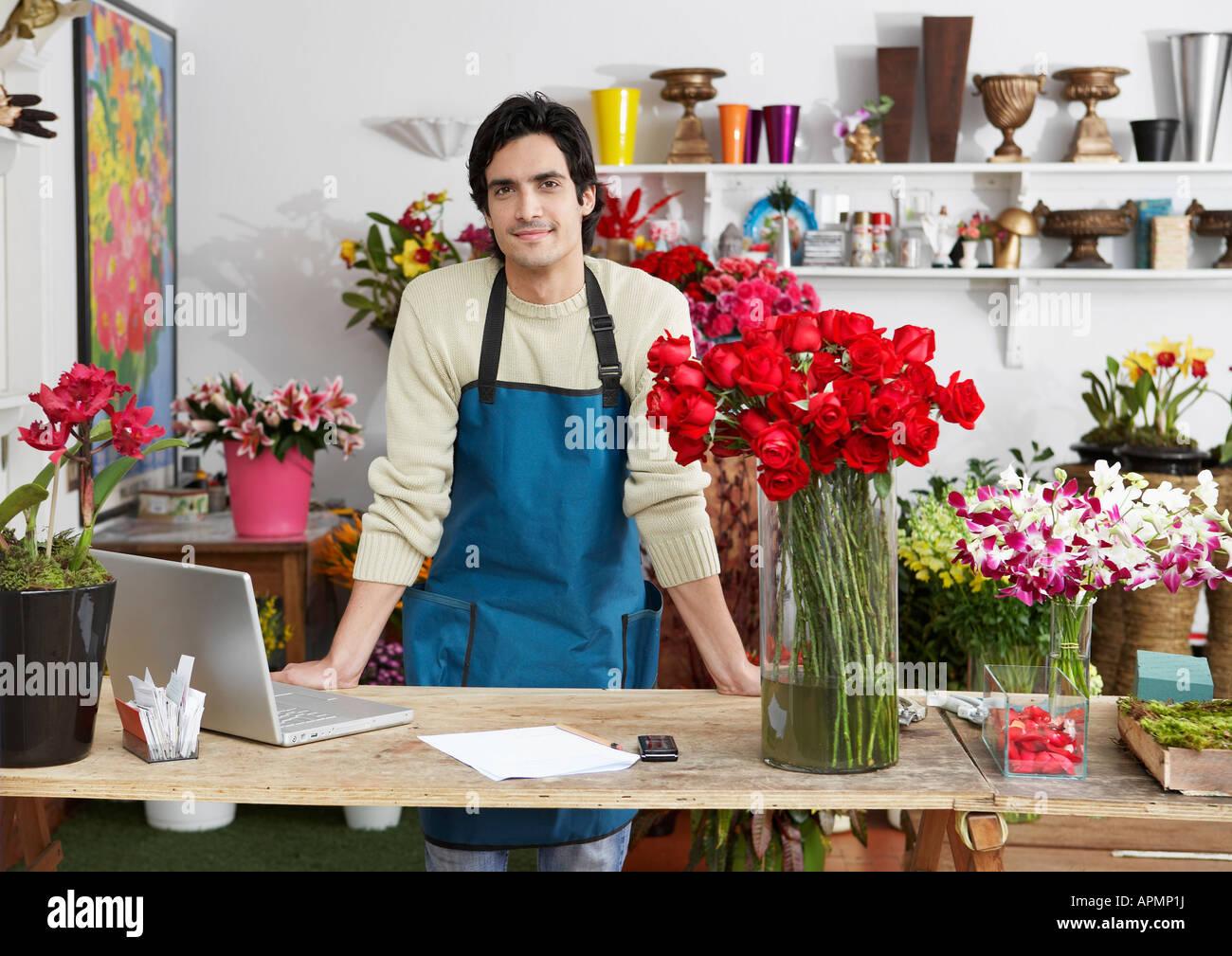 Male florist (portrait) Banque D'Images