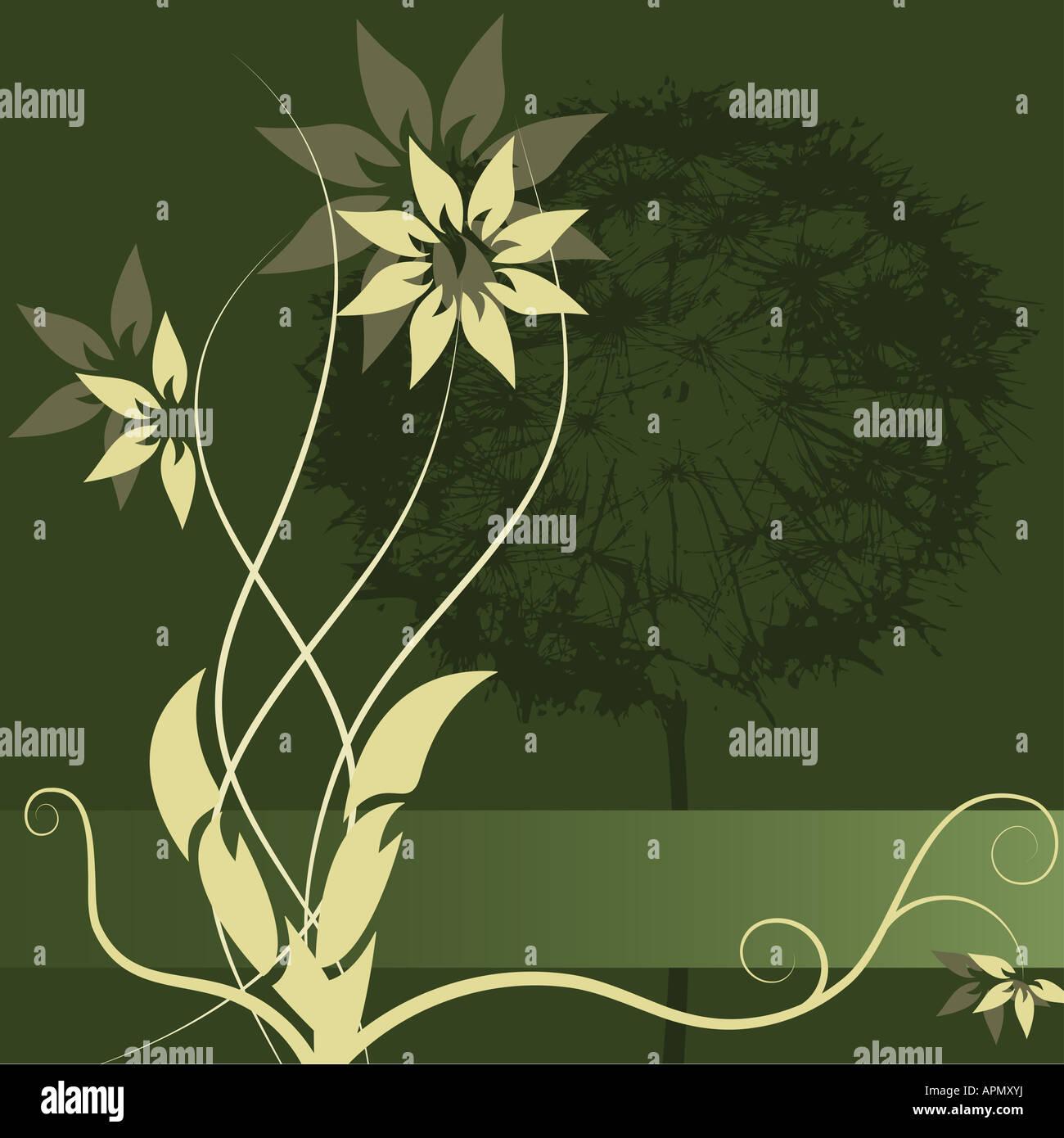 La conception de l'étiquette Fleur vecteur graphique Photo Stock