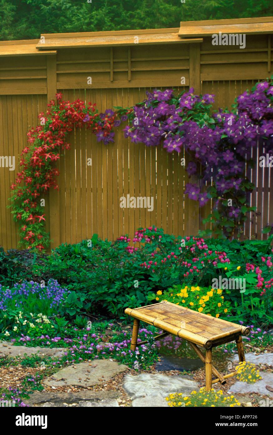 Clôture en bois hautes comme toile de jardin avec espaliered vignes ...