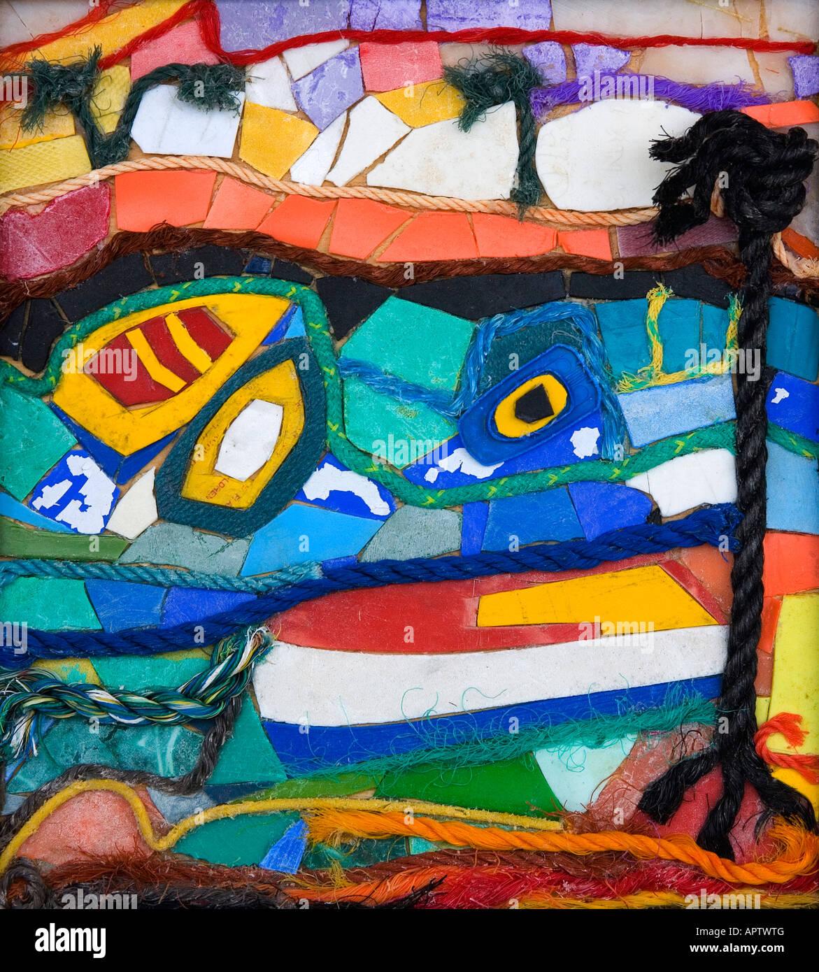 L'image des Caraïbes par Nicola Scott Taylor . Un collage de morceaux de corde et plastique recueillies Photo Stock