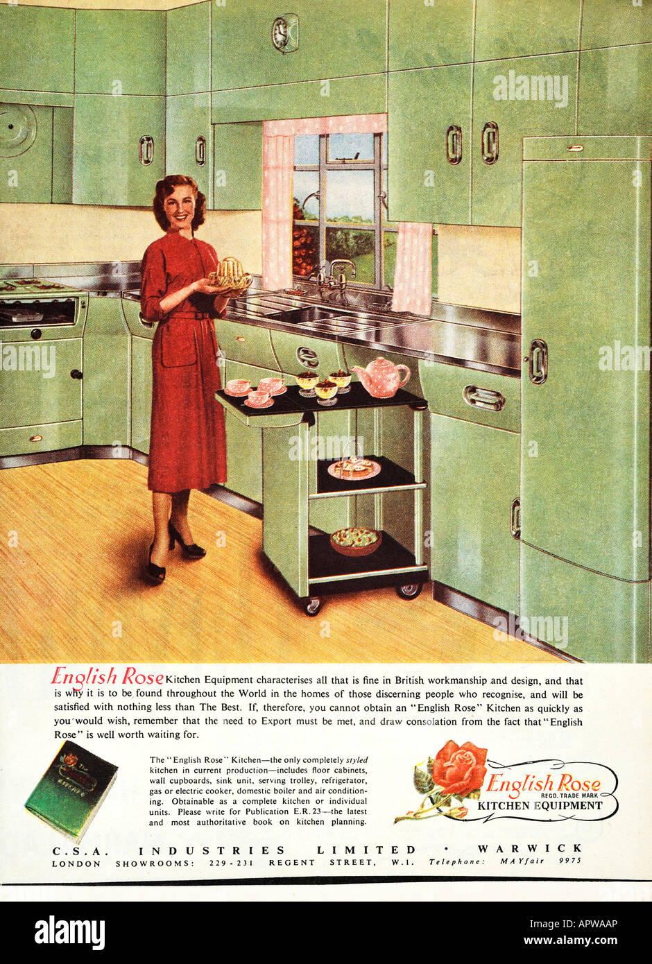 1950 Anglais Cuisine Design Rose Publicit 233 1958 Editorial