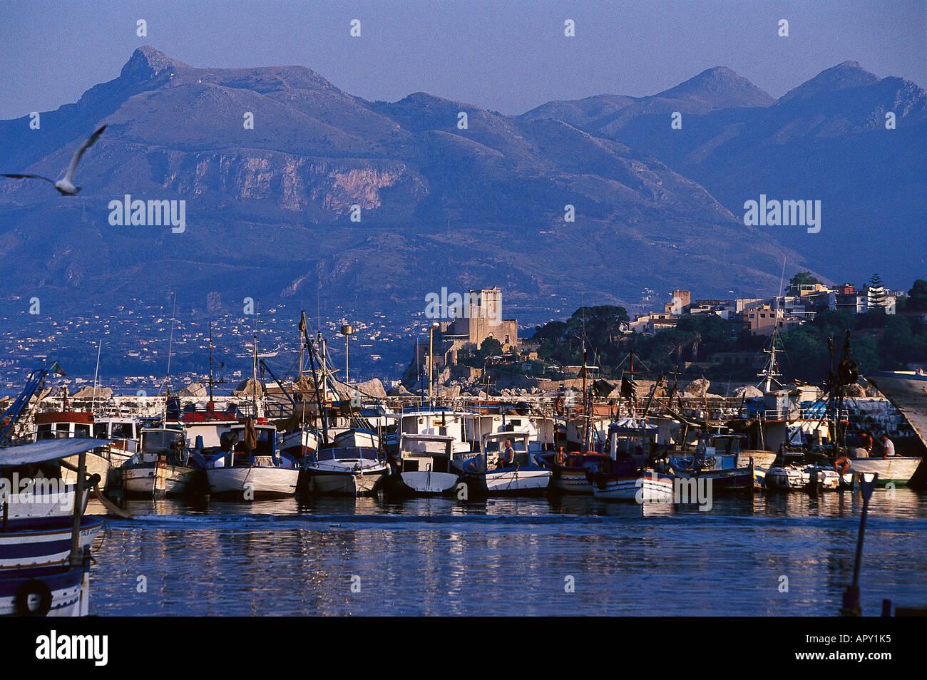 Porticello, Habour, Palerme, Sicile Italie Banque D'Images