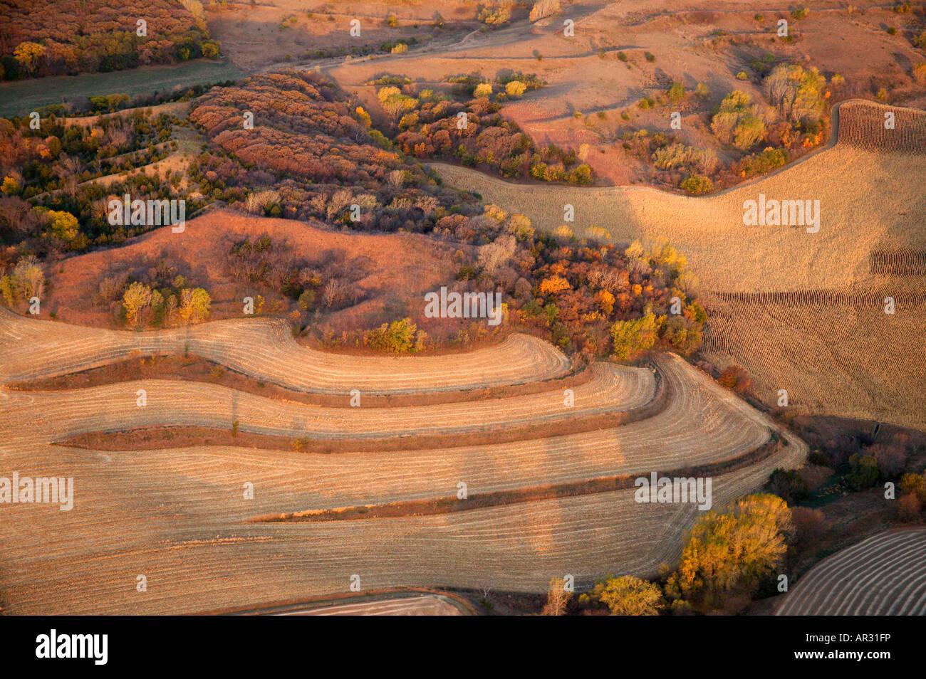 Vue aérienne de ferme sur les collines de Lœss, Monona Comté (Iowa USA Photo Stock