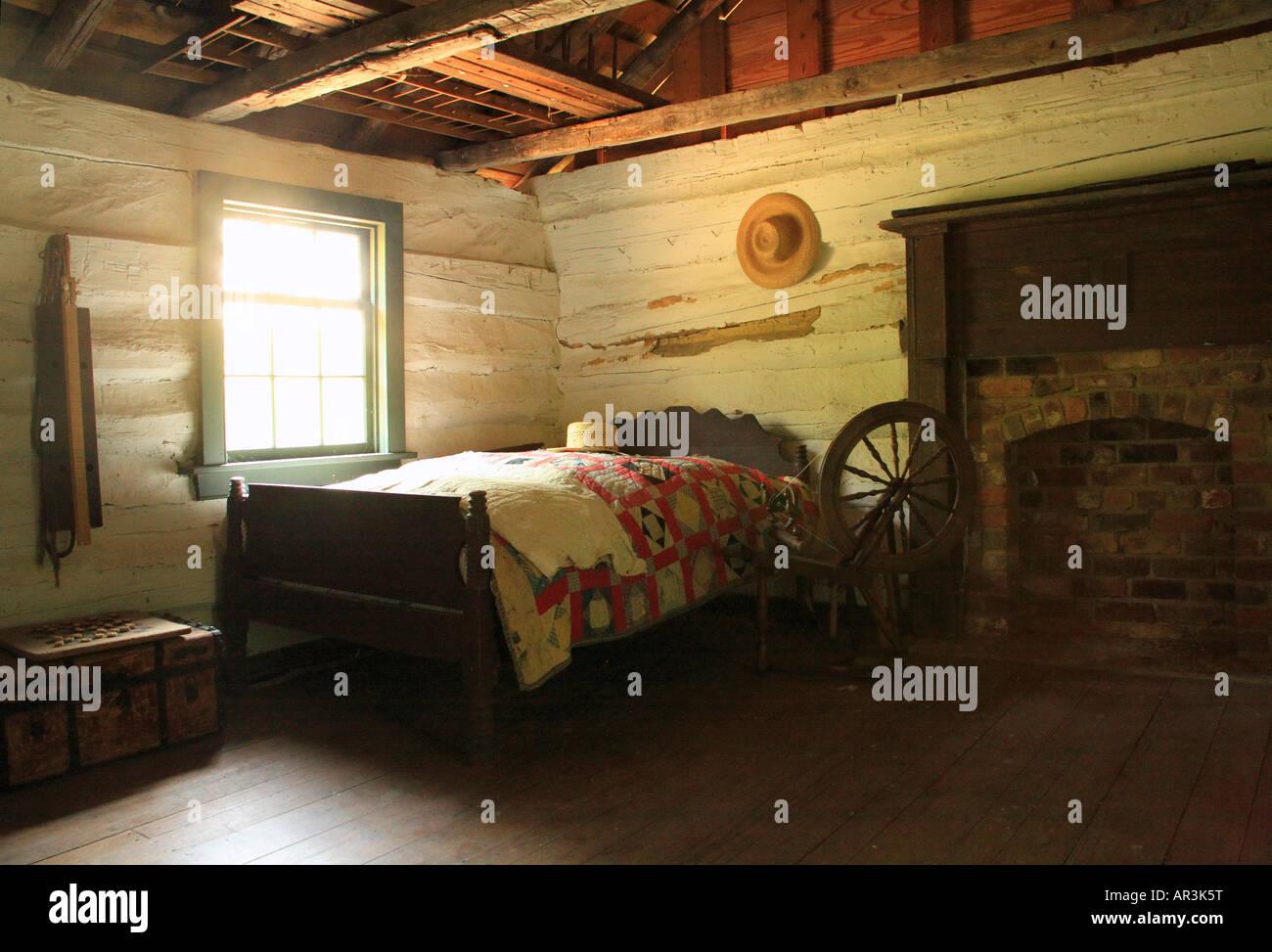 Chambre à 1800's Farm House, Virginia's Explorer Park, Blue Ridge Parkway, Roanoke, Virginie, USA Banque D'Images