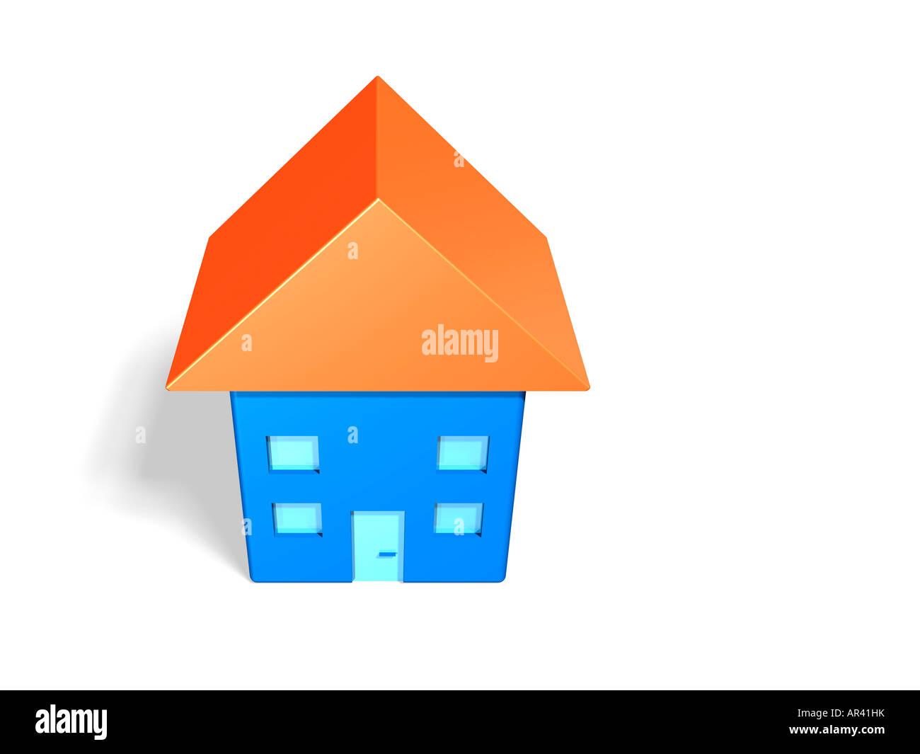 Modèle d'une maison bleue avec toit orange (3d illustration). Photo Stock