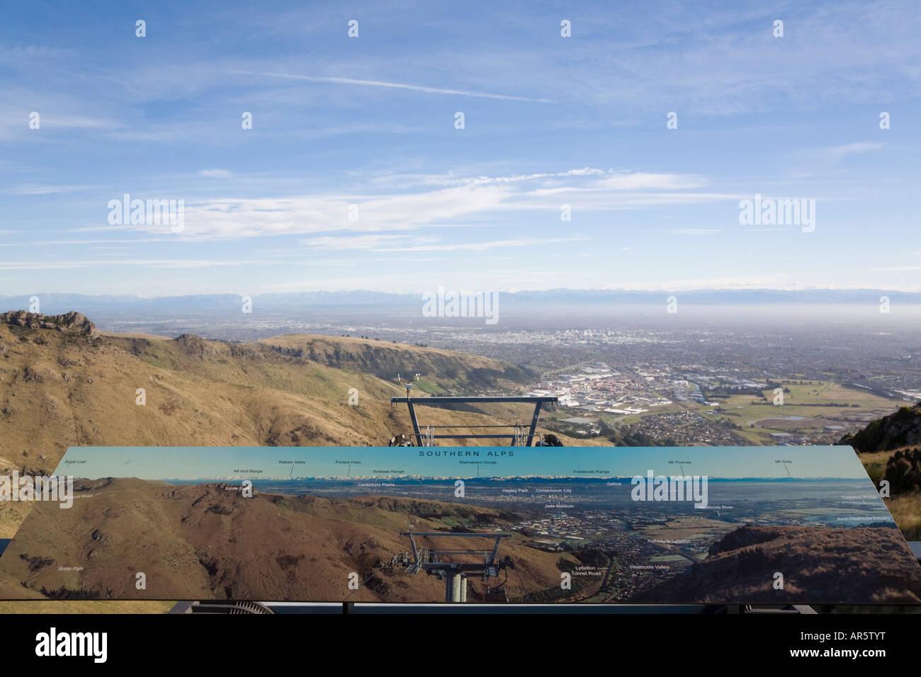 Vue depuis le mont belvédère gondole Cavendish dans Port Hills' avec signe pictural ile sud Nouvelle Photo Stock
