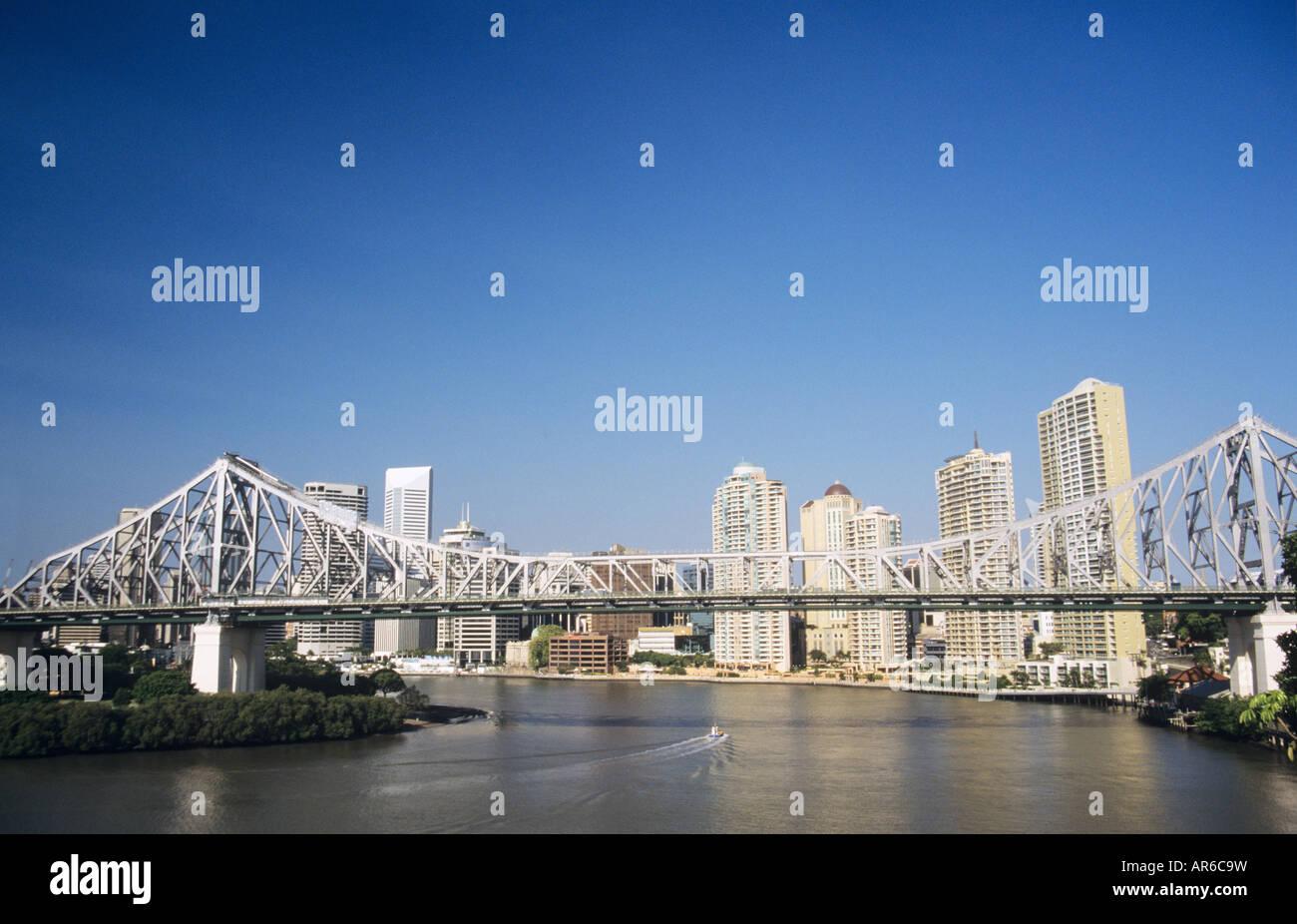 La rivière Brisbane et Story Bridge Photo Stock
