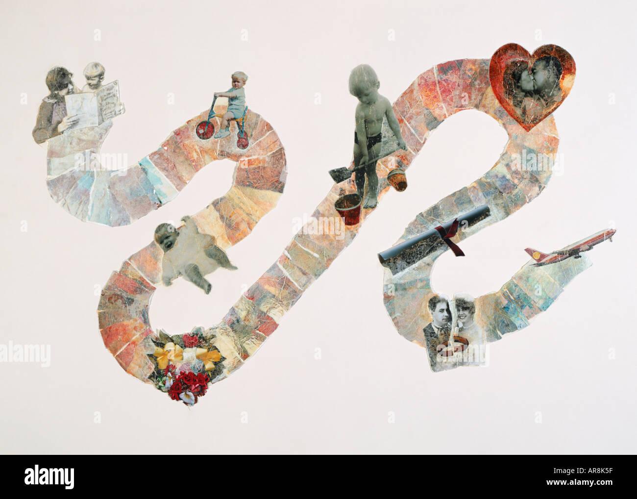 Serpent-comme des collages, des photos de la personne, décoration de lifeline en robe de baptême bébé Photo Stock