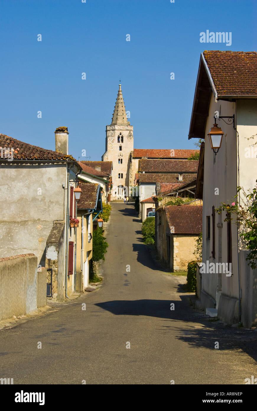 Main street, Brassempouy, Landes, France Photo Stock
