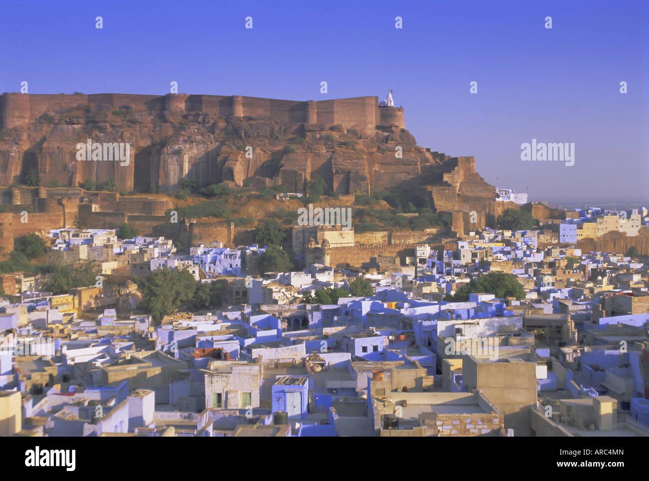 La ville bleue de Jodhpur, Rajasthan, Inde, Asie Banque D'Images