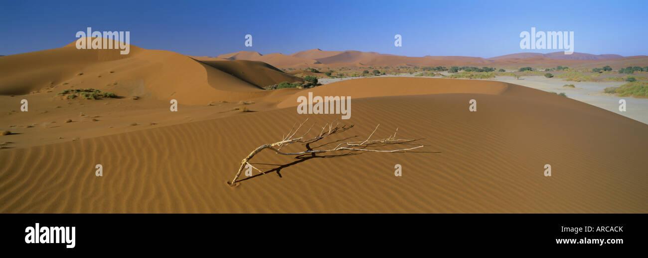 Vue panoramique sur les dunes, Sossusvlei, Namib Naukluft Park, Désert du Namib, Namibie, Afrique Photo Stock