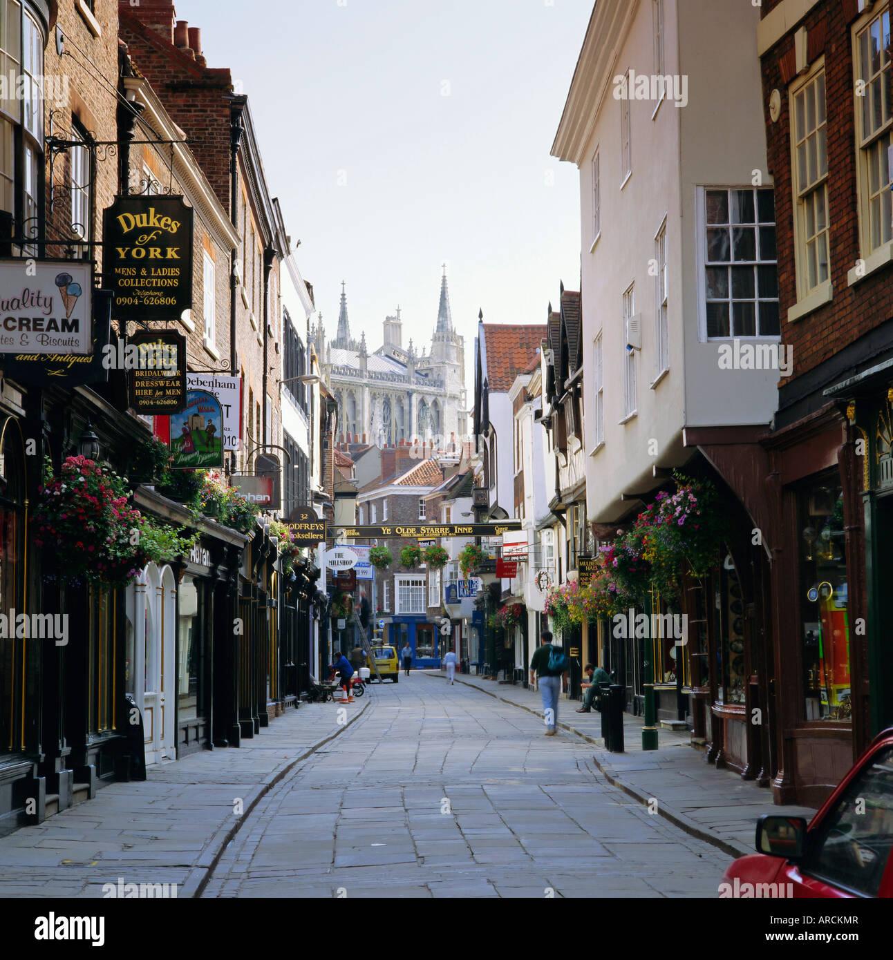 Stonegate, York, Yorkshire, Angleterre, Royaume-Uni, Europe Photo Stock