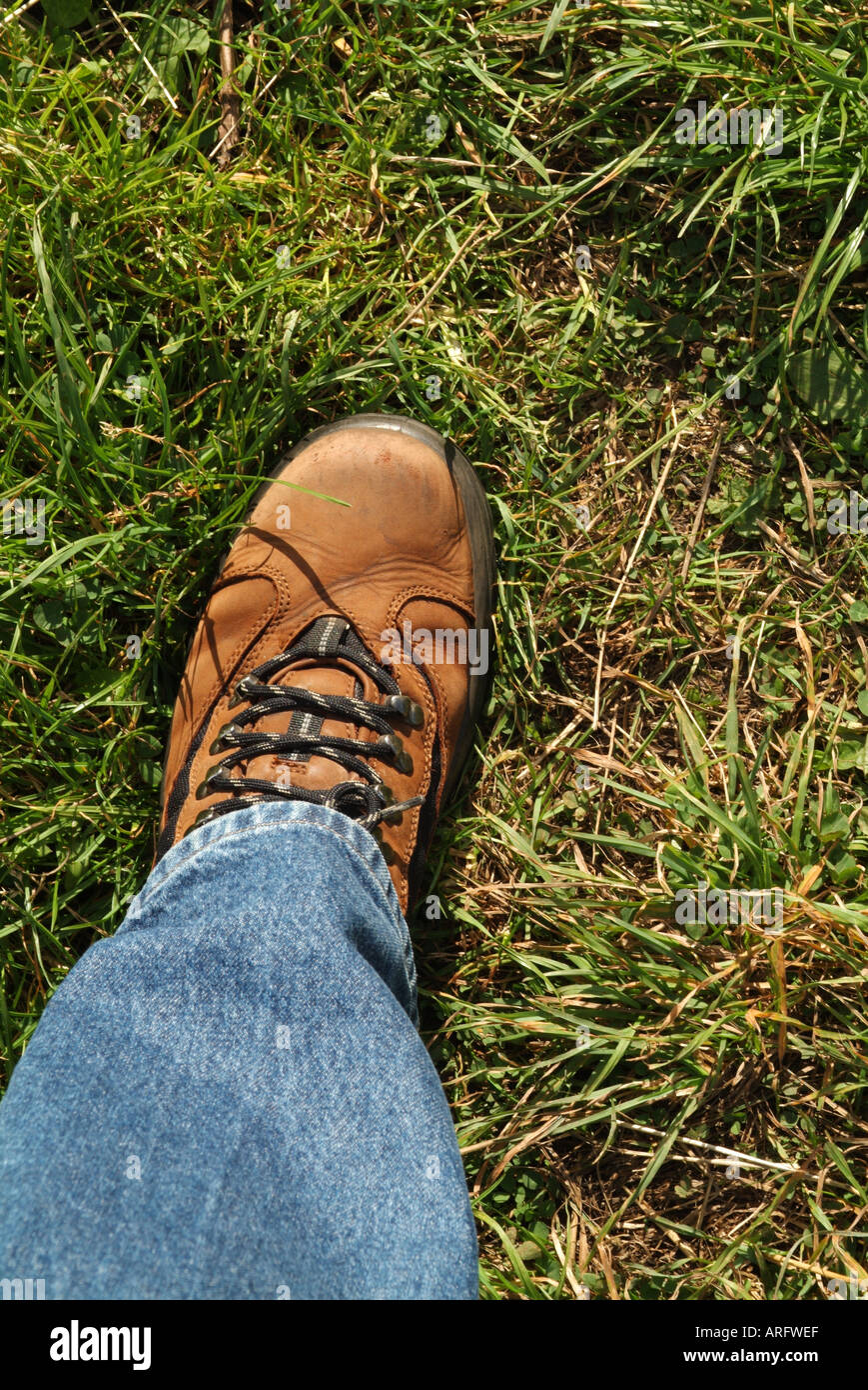 Close up of a man's walking boot mi-stride Photo Stock
