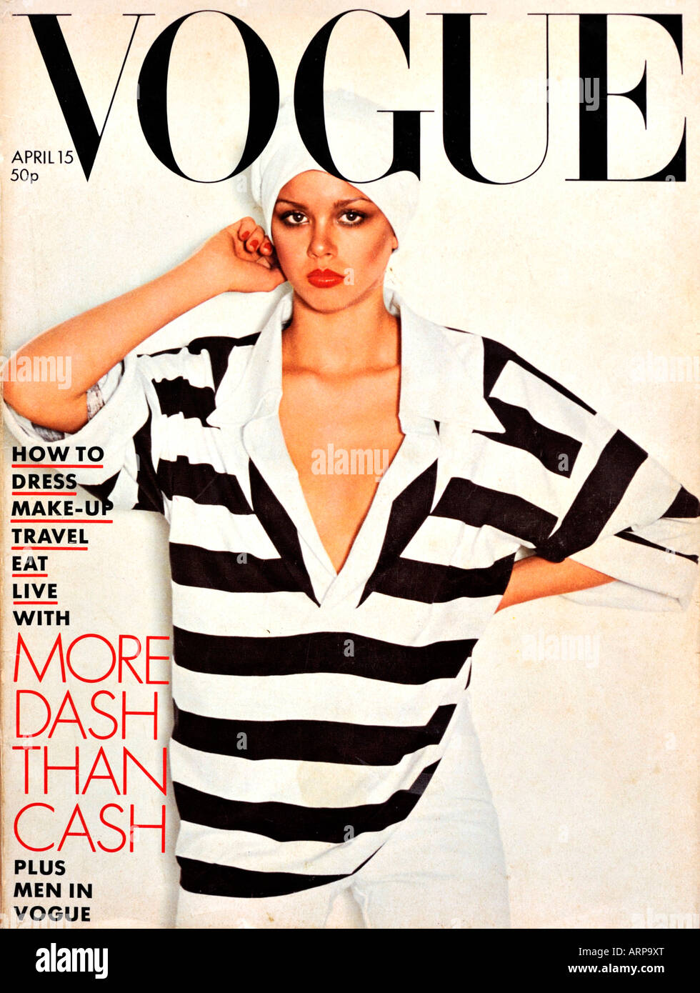 1970 Vogue Fashion Magazine 15 avril 1976 pour un usage éditorial uniquement Photo Stock