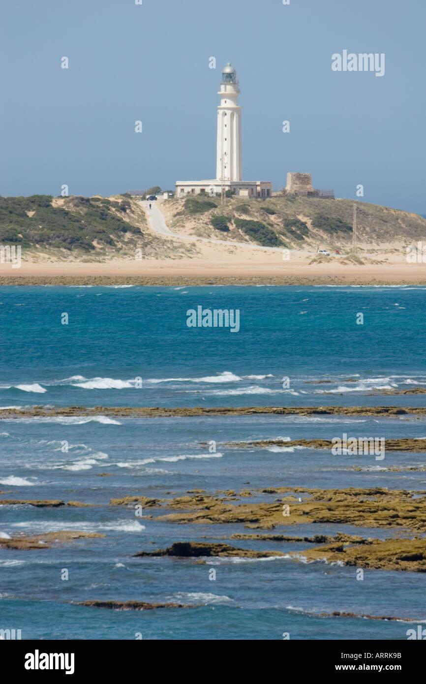 Los Caños de Meca et Cap sur le phare de Trafalgar, Province de Cadix, Espagne. Banque D'Images
