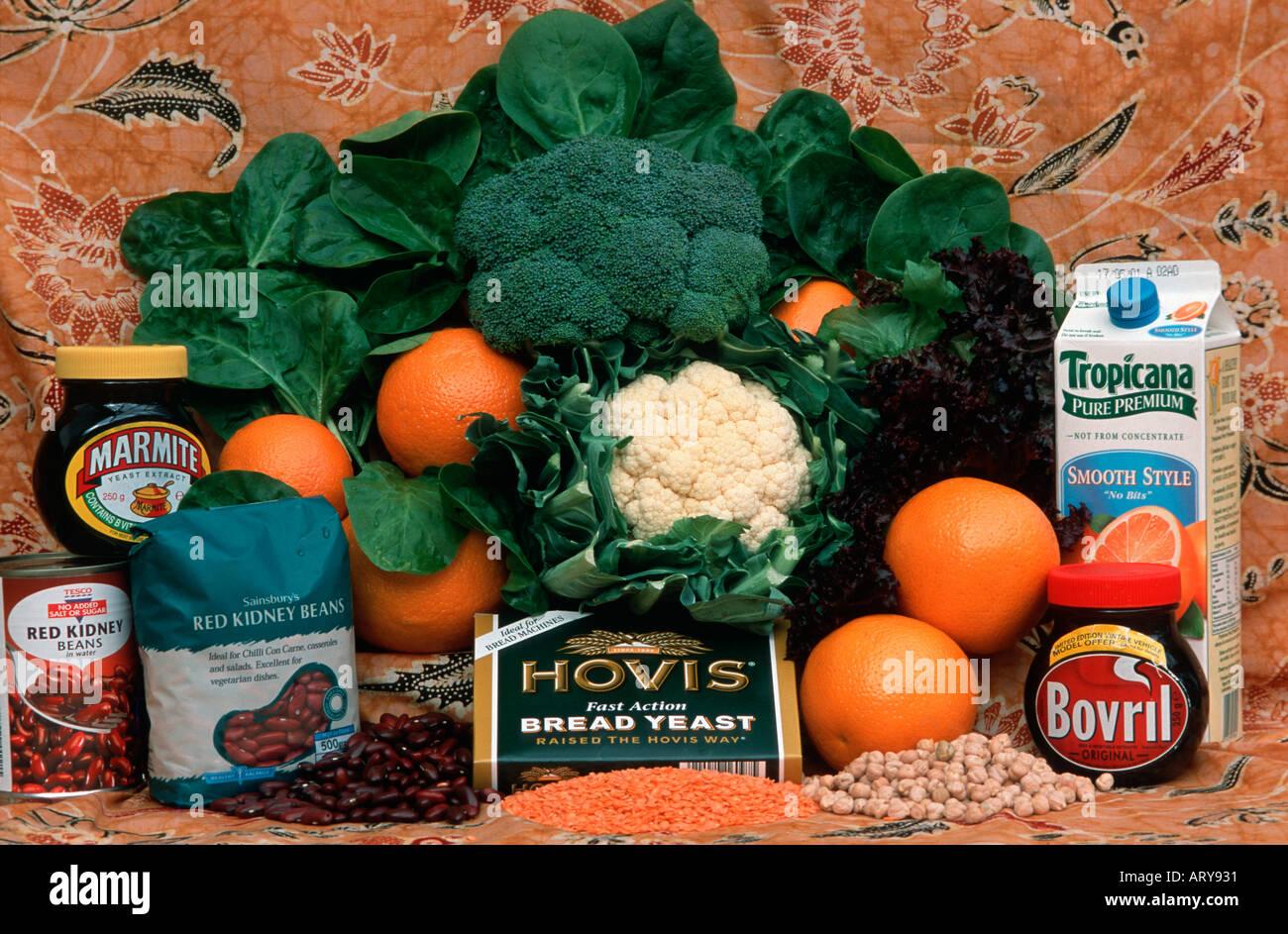 Afficher d'aliments riches en acide folique, Cotswolds, Royaume-Uni Photo Stock