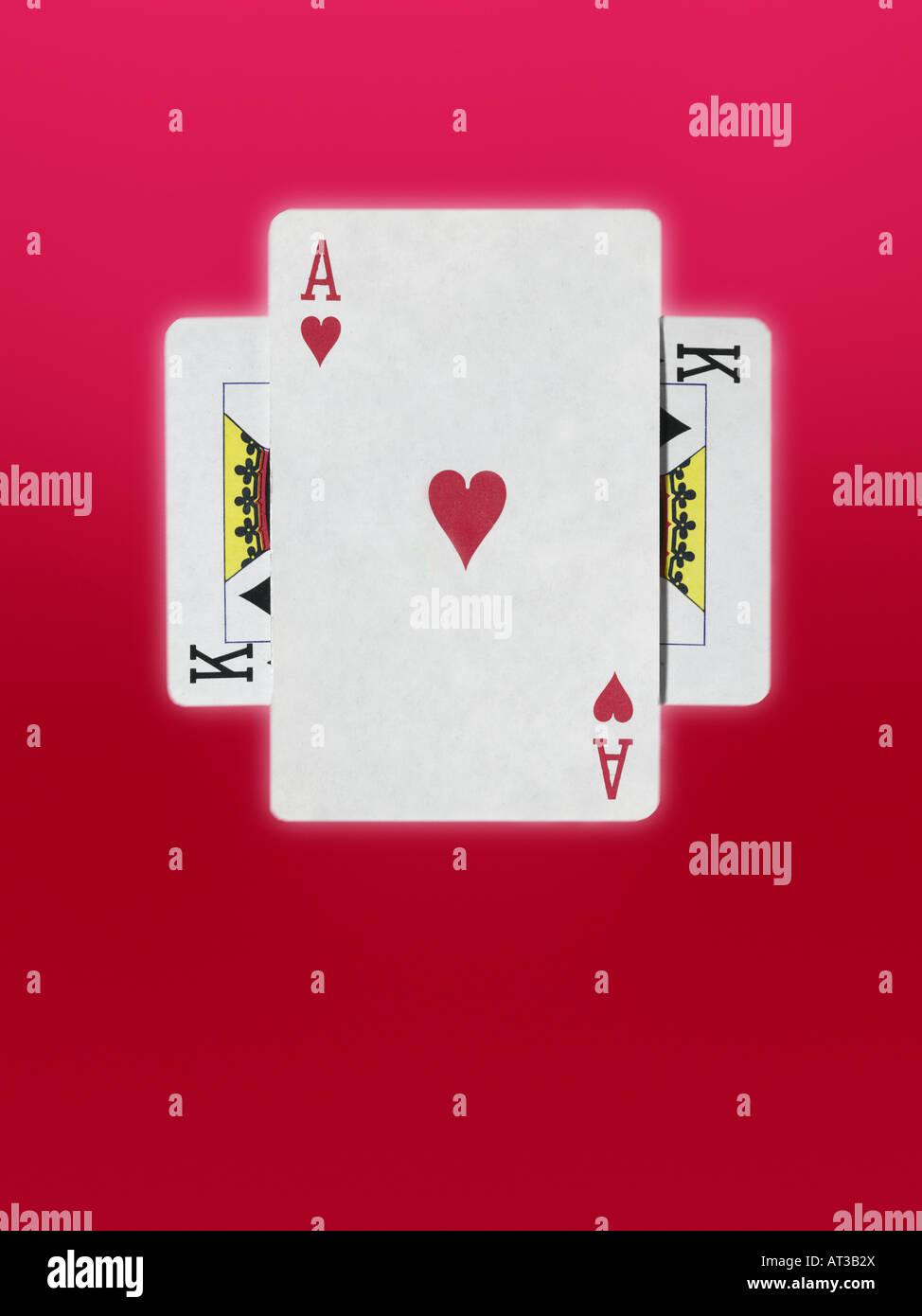 As et un roi des cartes à jouer Photo Stock