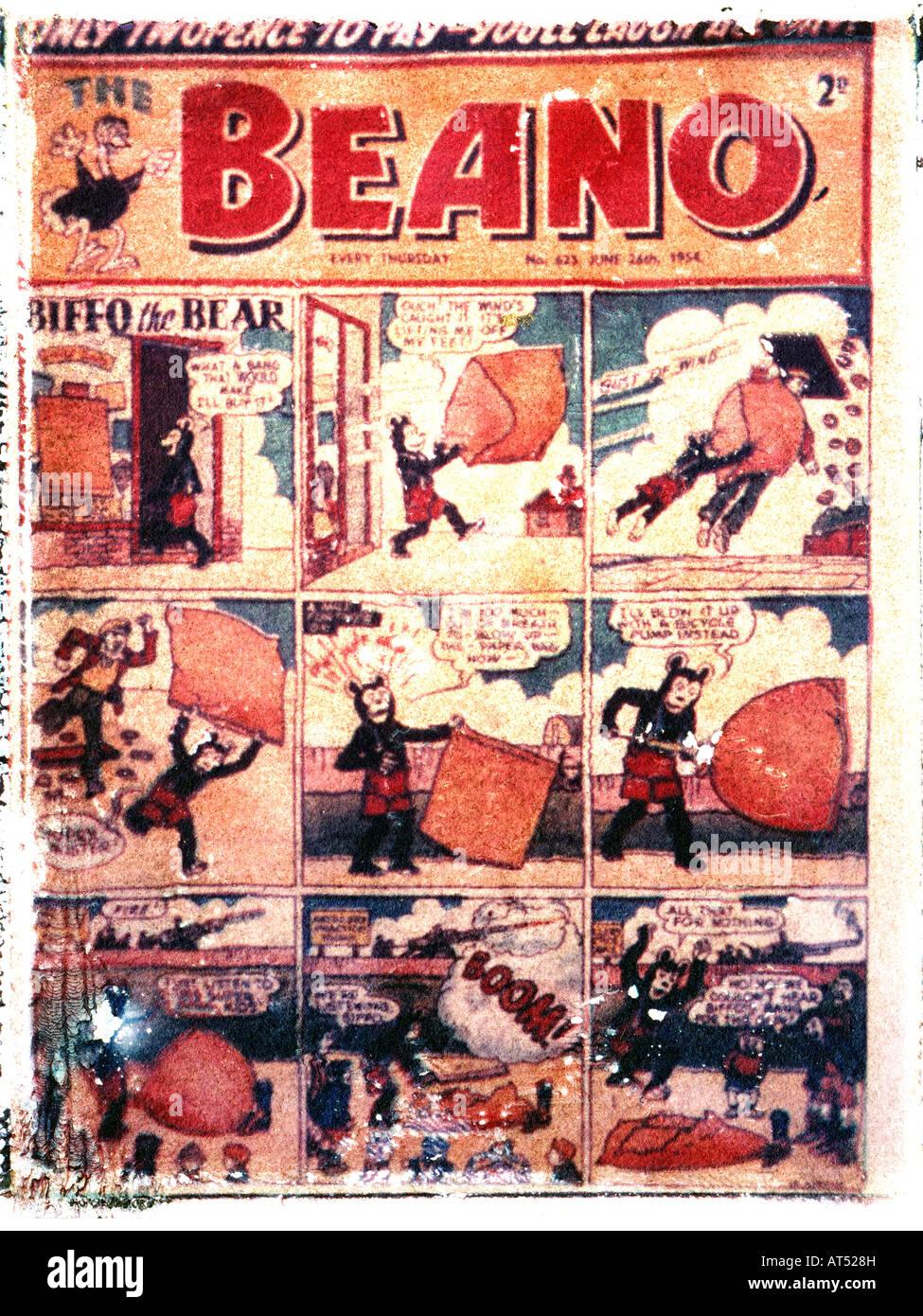 Transfert de l'image Polaroid Beano Bande Dessinée pour enfants 1954 pour un usage éditorial uniquement Photo Stock