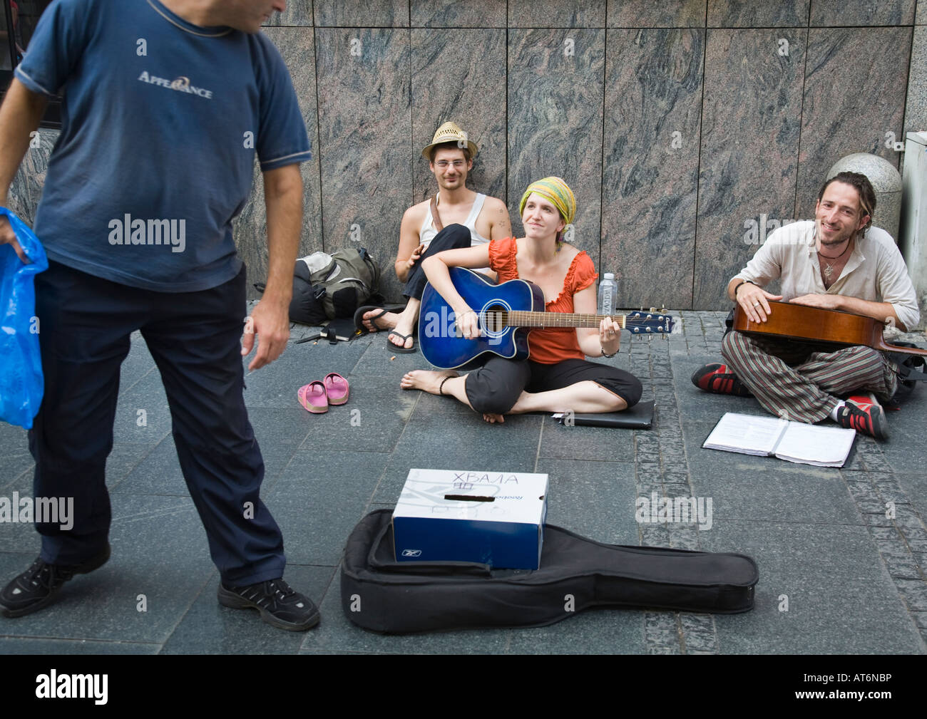 Street life music, dans le centre-ville de Belgrade/Serbie Banque D'Images