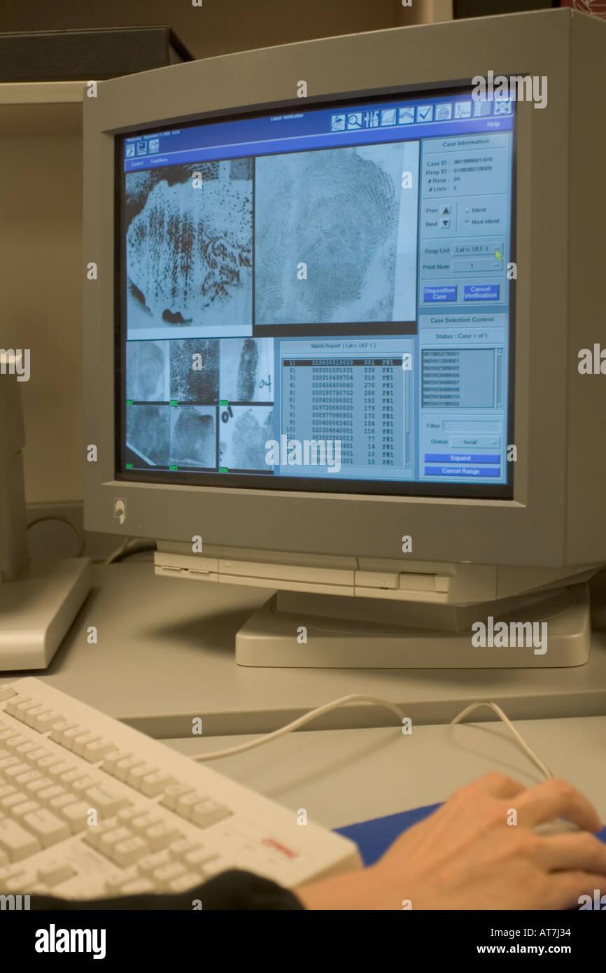 Les IFA, Automated Fingerprint Identification System, base de données. Nebraska State Patrol Crime Lab, Lincoln, NE, États-Unis d'Amérique. Photo Stock