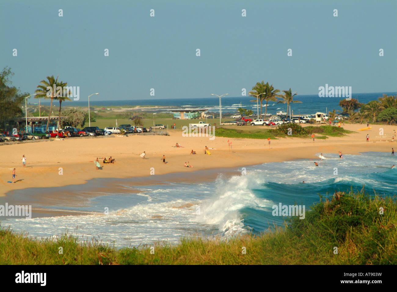 Plage de sable fin, une célèbre plage de bodysurfing sur Oahu côte est du Kaiwi Banque D'Images