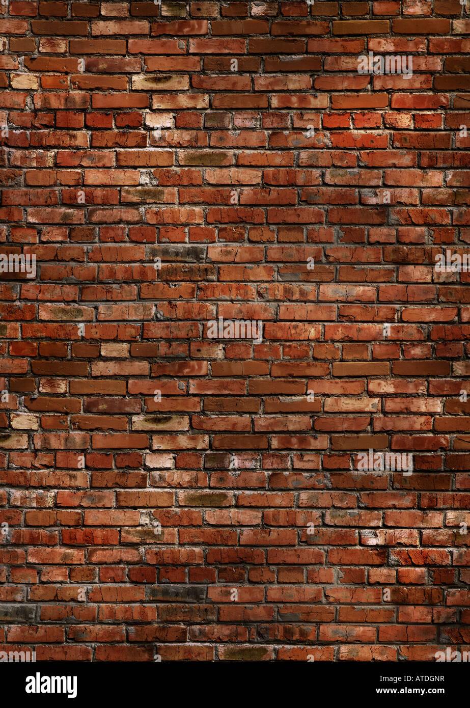 La texture du mur de brique rouge foncé Photo Stock
