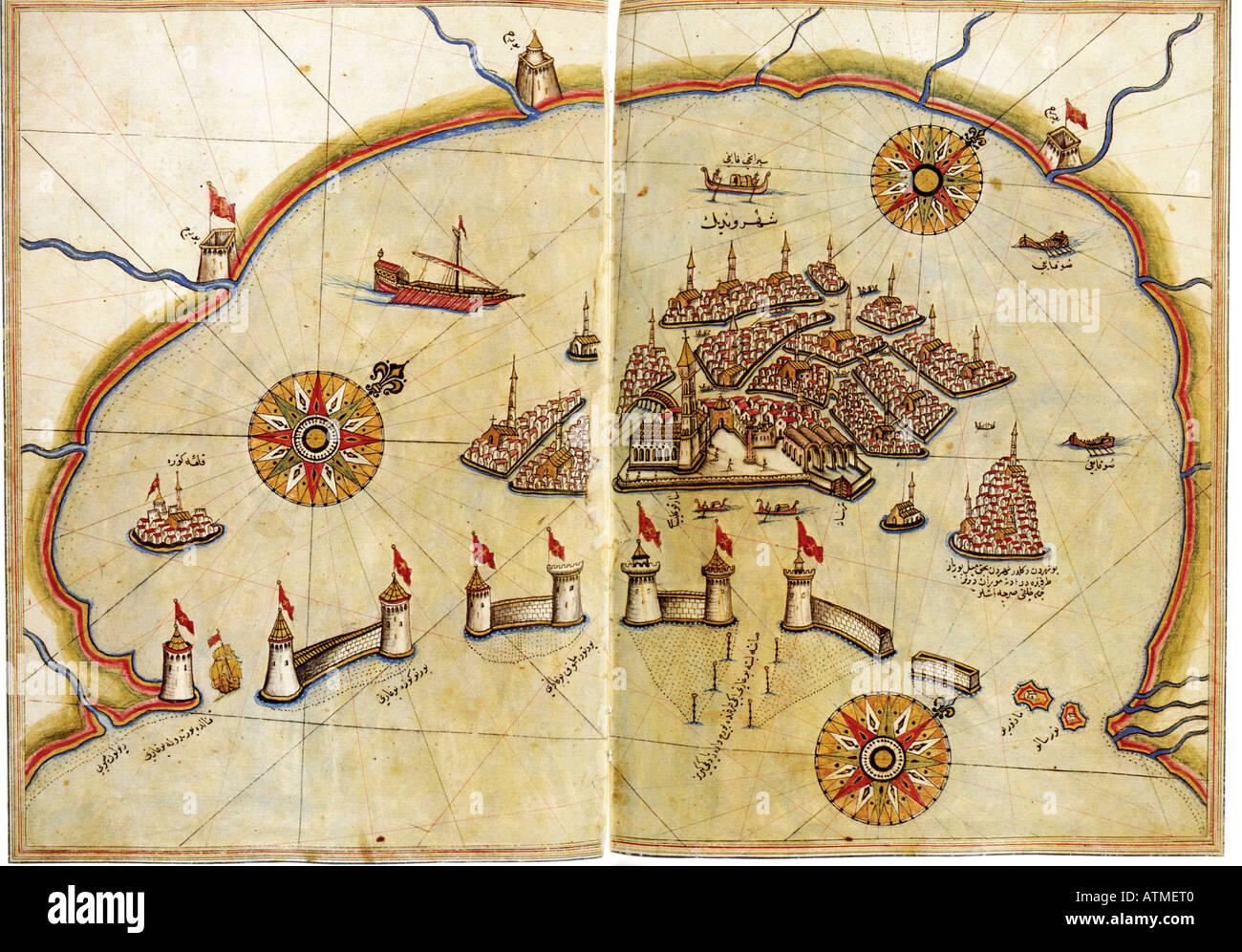 Graphique historique de Venise par Kitab Piri Reis Bahriye je l'université d'Istanbul Turquie bibliothèque Photo Stock