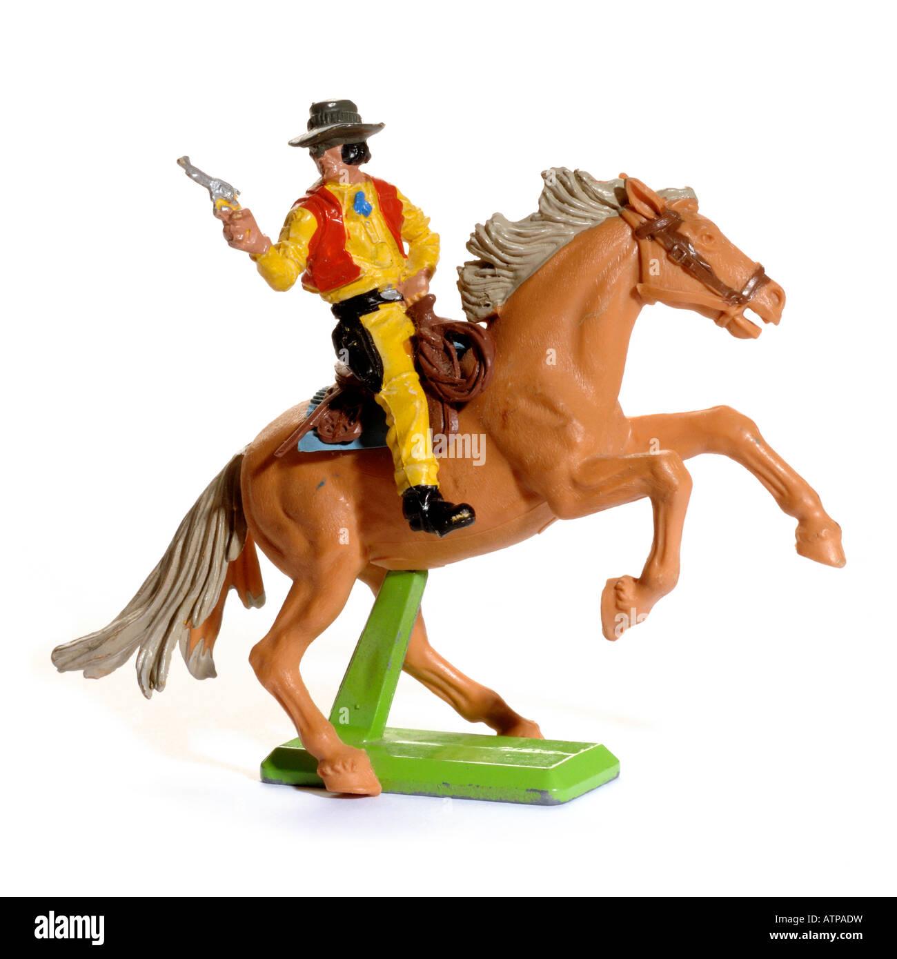 Plastique rétro et cheval jouet cowboy Photo Stock