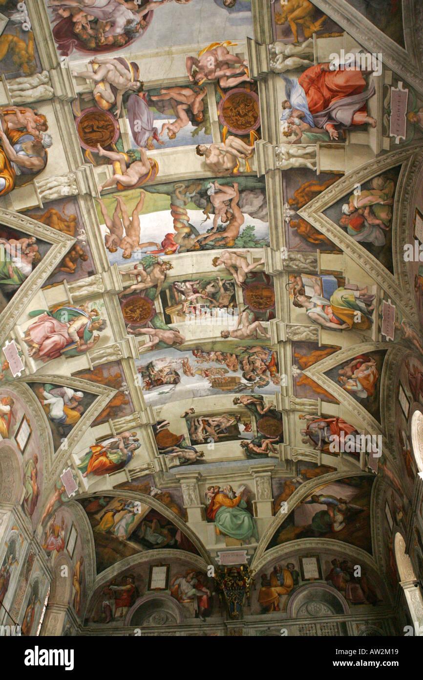 Le Celebre Toit Plafond De La Chapelle Sixtine Michelangelo Fresco