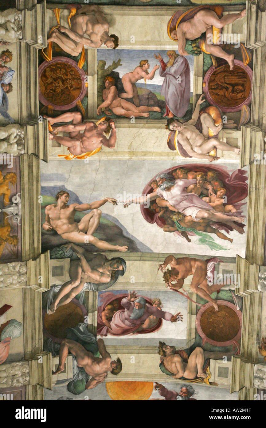 Michelangelos Celebre Creation De L Homme Peinture Plafond Fresque