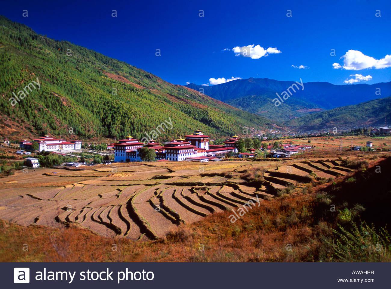 Tashi Chodzong siège du gouvernement central bhoutanais Bhoutan Thimphu Photo Stock