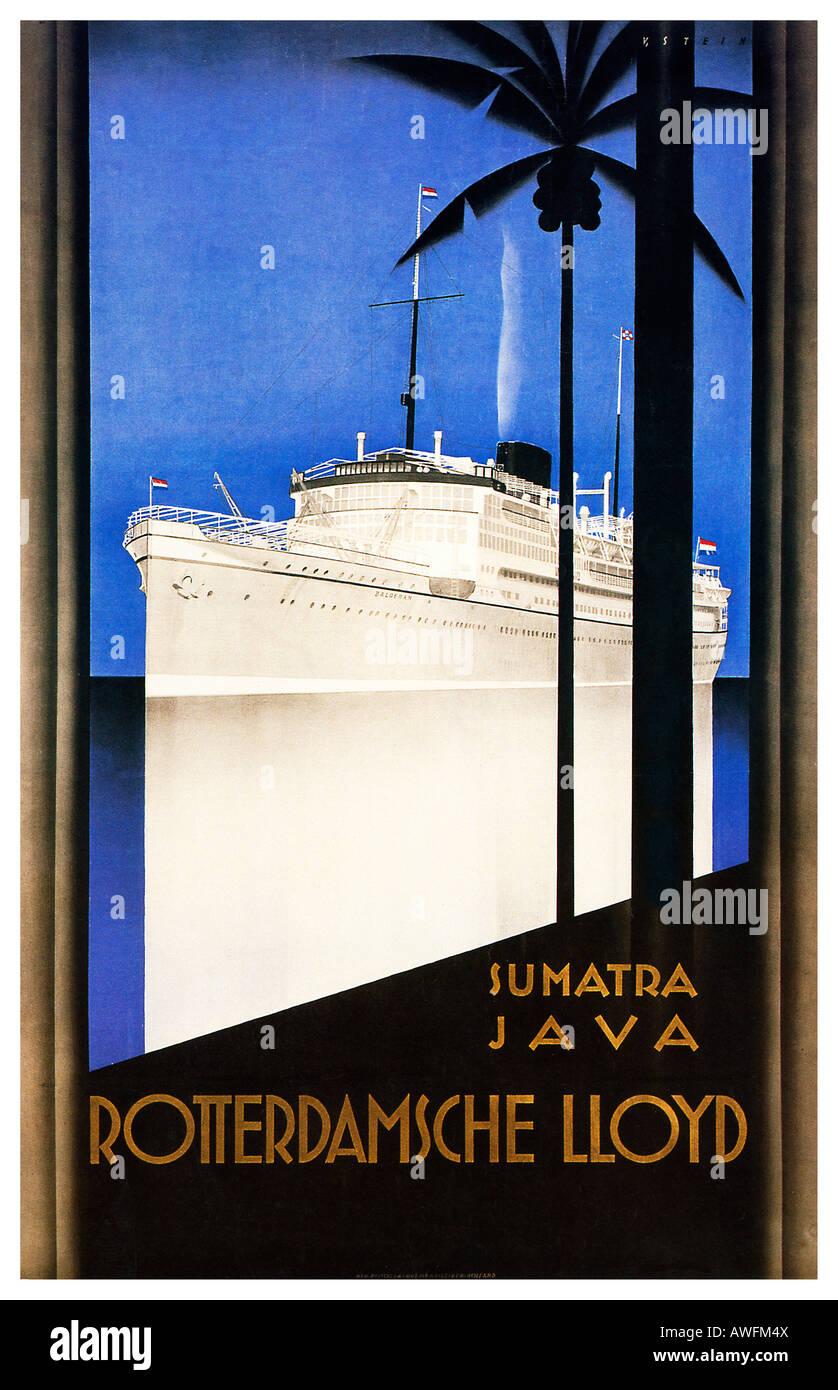 rotterdamsche lloyd art d co 1930 affiche pour le service de ligne d 39 exp dition aux indes. Black Bedroom Furniture Sets. Home Design Ideas