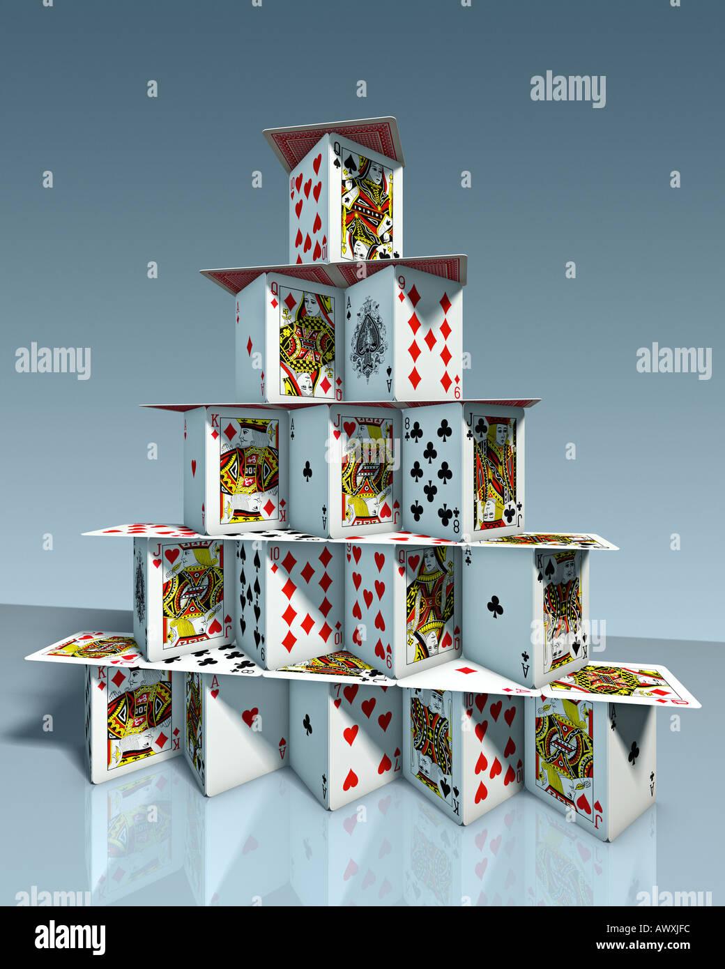 Château de chart house dans l'air jeu de cartes jeu de cartes symbole de l'harmonie l'équilibre de l'état de l'organisation de l'entreprise association club Photo Stock