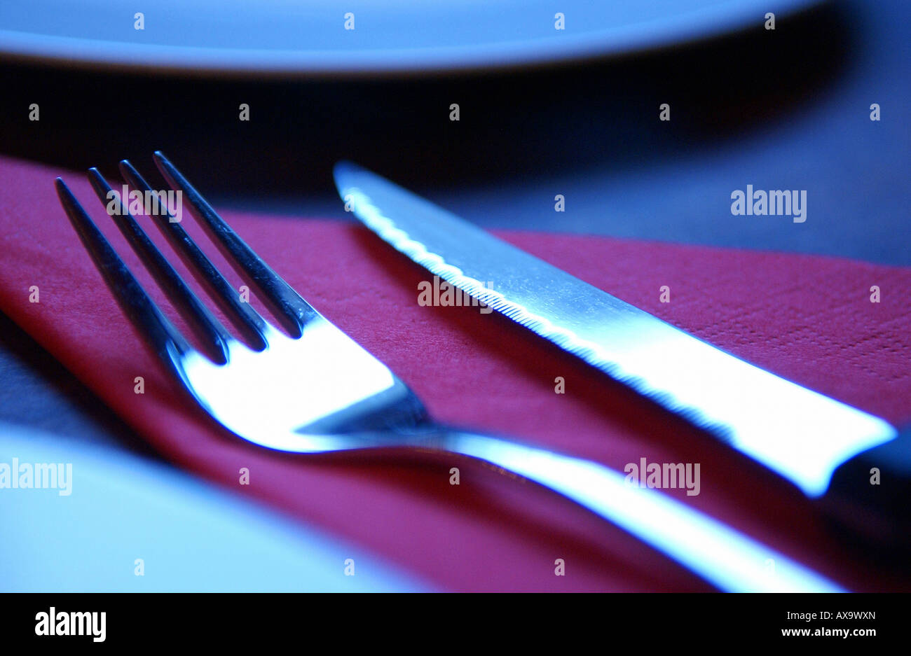 L'argenterie dans un restaurant Photo Stock